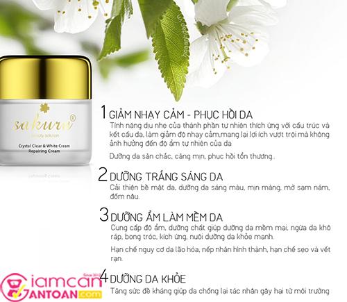 Kem Dưỡng Trắng Chống Lão Hóa Phục Hồi Da Ban Đêm Sakura Crystal Clear & White Cream Repairing Cream7