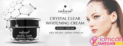 Kem Trị Nám Trắng Da Ban Đêm Sakura Crystal Clear Whitening Night Cream 6