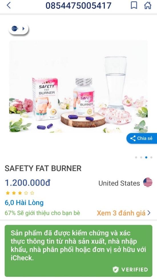 kết quả kiểm tra sản phẩm Safety Fat Burner bằng iCheck
