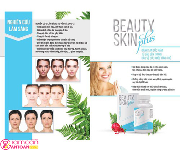 Beauty skin là sản phẩm được chiết xuất từ 10 loại thảo, có công dụng làm trắng da