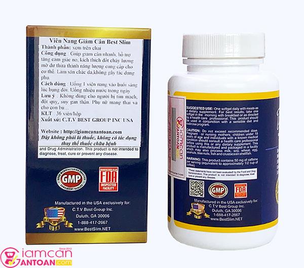 Thành phần của thuốc giảm cân được ghi rõ trên vỏ chai