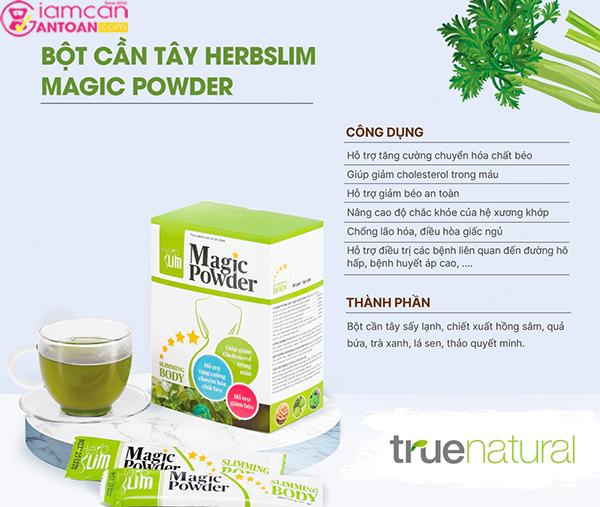Bột cần tây Herbslim chứa rất ít calo, được chiết xuất hoàn toàn từ thiên nhiên