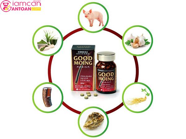 Good Moing được chiết xuất từ nhau thai heo, tảo xoắn spirulina, keratin,...