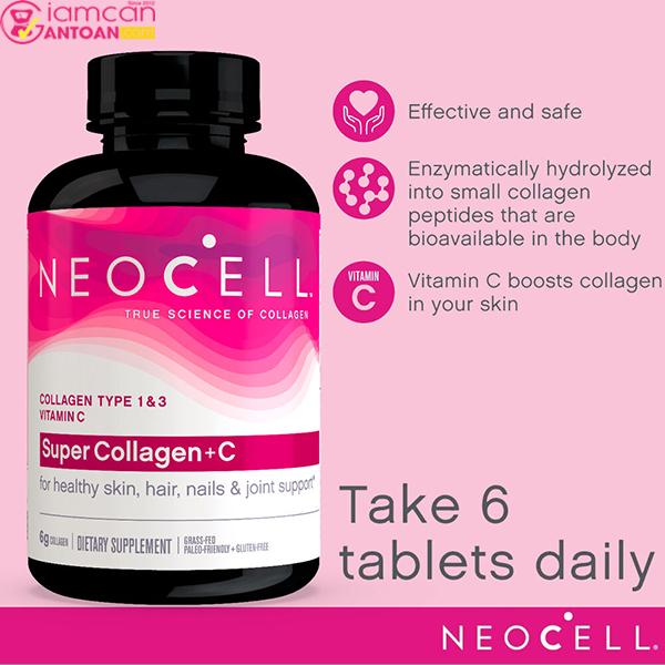 Neocell Super Collagen+C Type 1&3 chứa nhiều thành phần thiết yếu