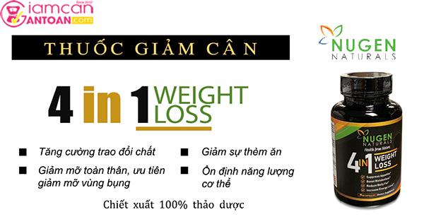Nugen Naturals Weight Loss 4 trong 1 là sản phẩm giảm cân nổi tiếng của Mỹ