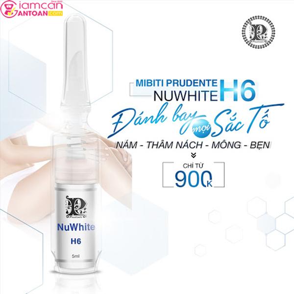 Nuwhite H6 Mibiti Prudente phục hồi cho bạn một vùng da mịn màng, trắng sáng.