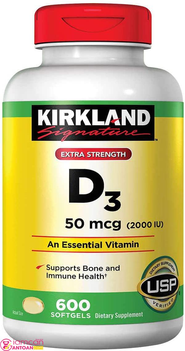 Vitamin D3 2000 IU Kirkland tăng cường khả năng của hệ miễn dịch.